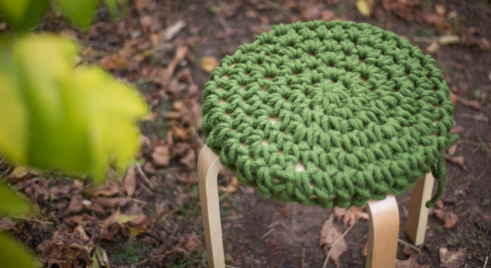 Grounded Stool Chunky Crochet Chunky Knits Chunky Stool | Homelea Lass