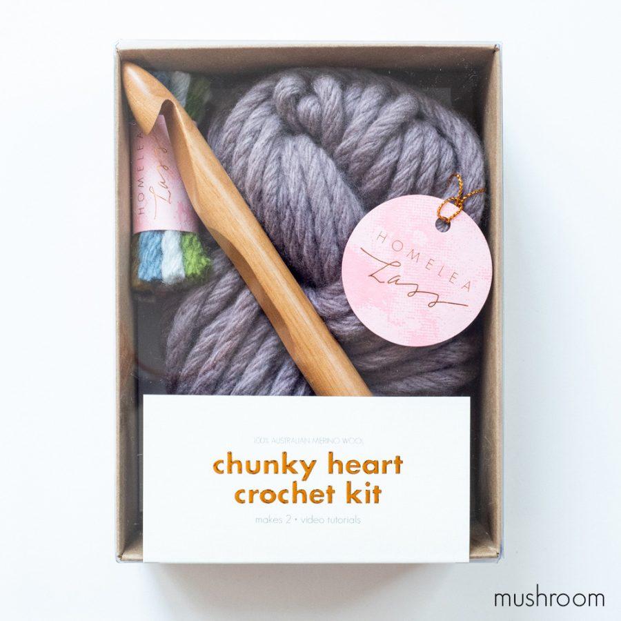 Chunky Heart Crochet Kit - Australian Merino Wool | Homelea Lass