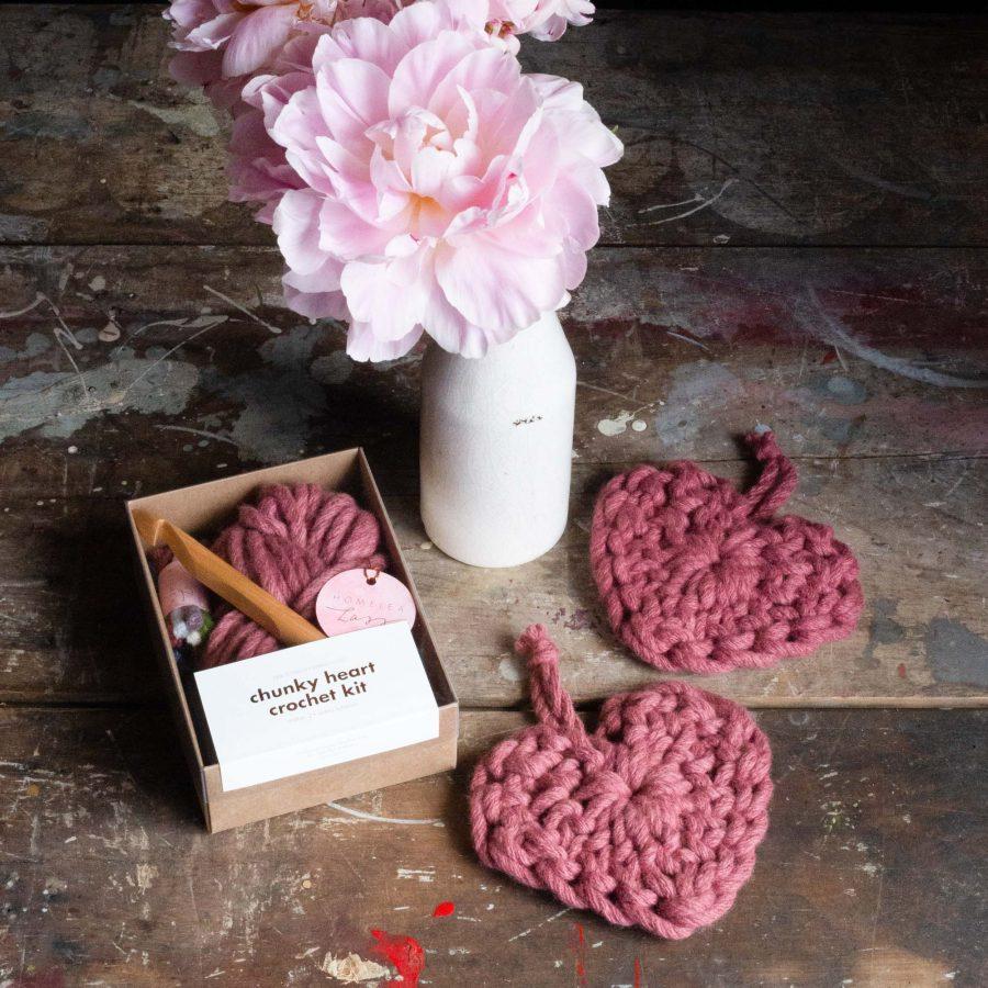 Chunky Heart Crochet Kit - rhubarb pink red - Australian merino wool | Homelea Lass Contemporary Crochet