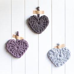 Chunky Heart Crochet Kit - mushroom purple donkey brown grey - Australian merino wool   Homelea Lass Contemporary Crochet