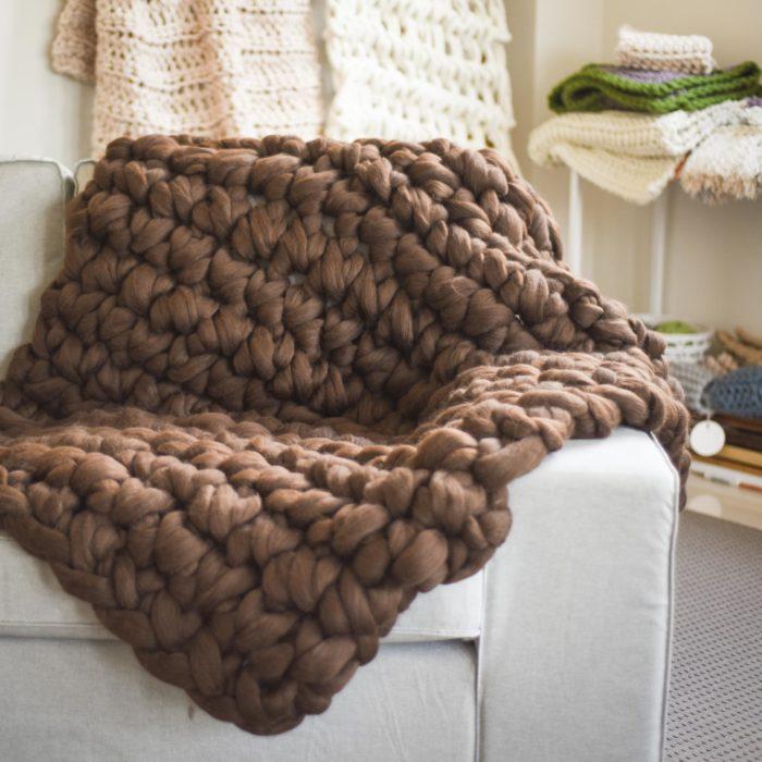Chunky Cloud Blanket - Natural Corriedale Wool | Homelea Lass