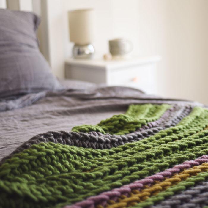 Midnight Garden Chunky Wool Blanket   Homelea Lass