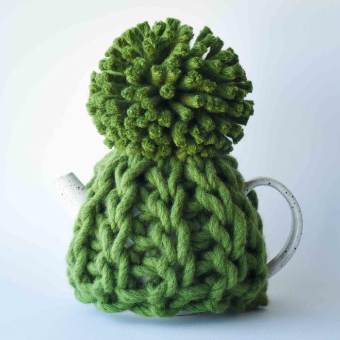 Toasty Heart Teapot Cosy - chunky crochet tea cozy Australian merino wool | Homelea Lass