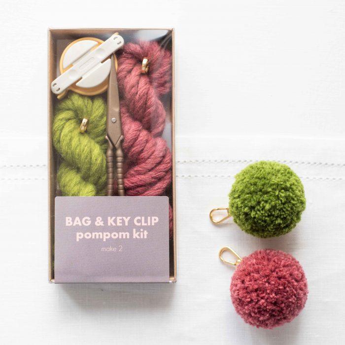 PomPom Bag & Key Clip Kit - Australian Merino Wool   Homelea Lass Contemporary Crochet