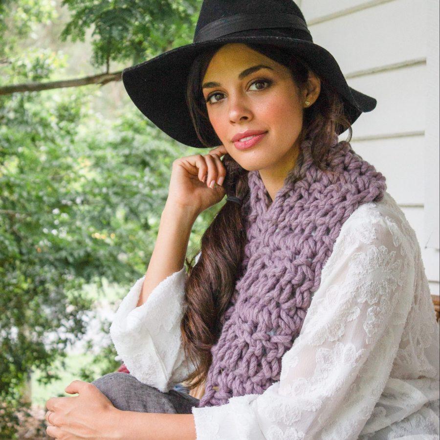 Mushroom Purple Warm Heart Cowl - Australian Merino Wool | Homelea Lass Contemporary Crochet