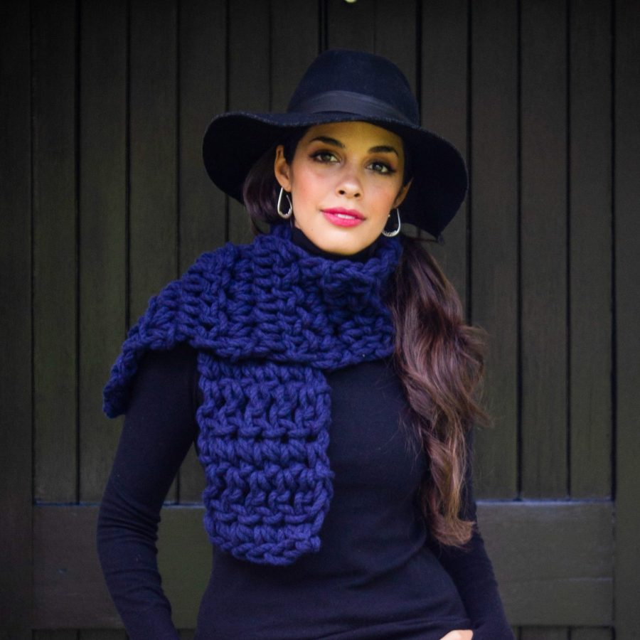 Navy Warm Heart Scarf - Australian Merino Wool | Homelea Lass Contemporary Crochet