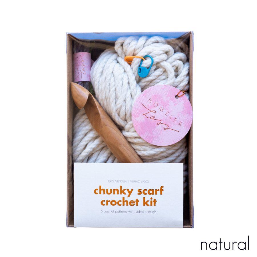 Chunky Scarf Crochet Kit - learn to crochet - Australian Merino Wool - natural cream undyed | Homelea Lass
