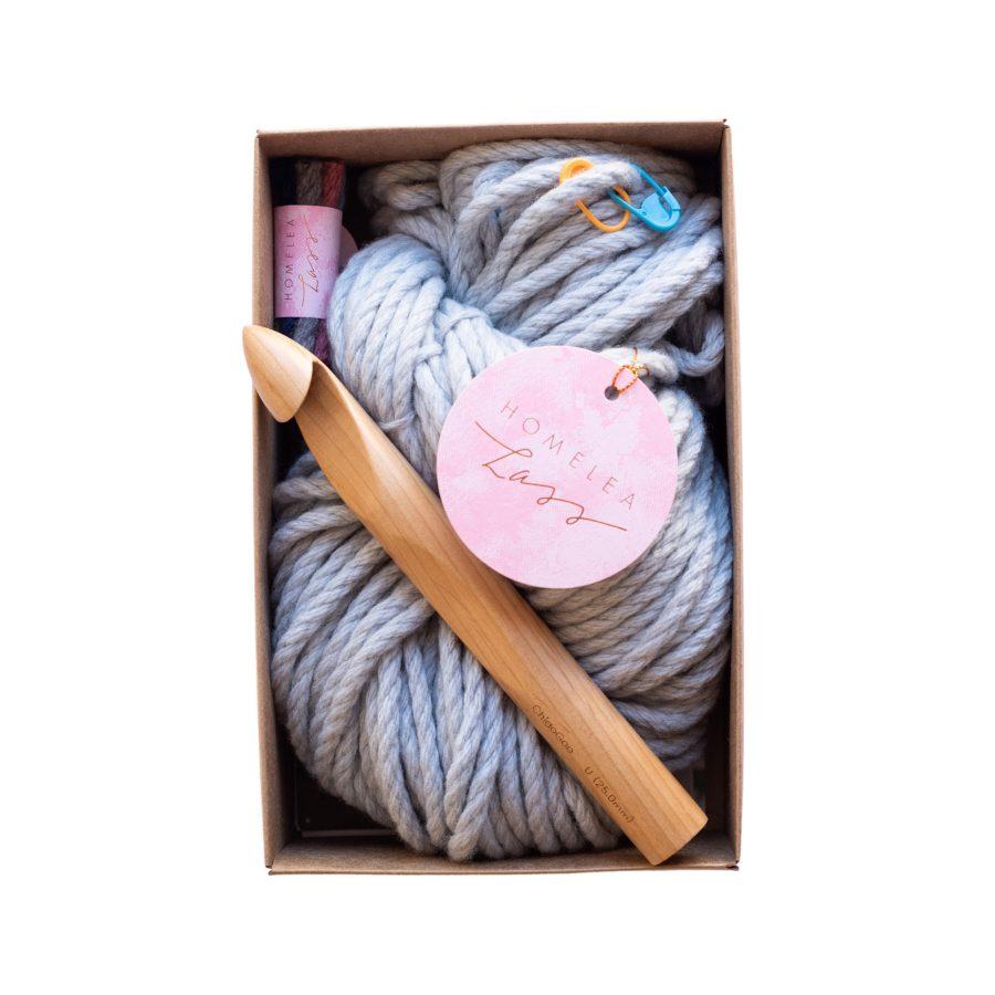 Chunky Scarf Crochet Kit - learn to crochet - Australian Merino Wool - grey inside kit| Homelea Lass