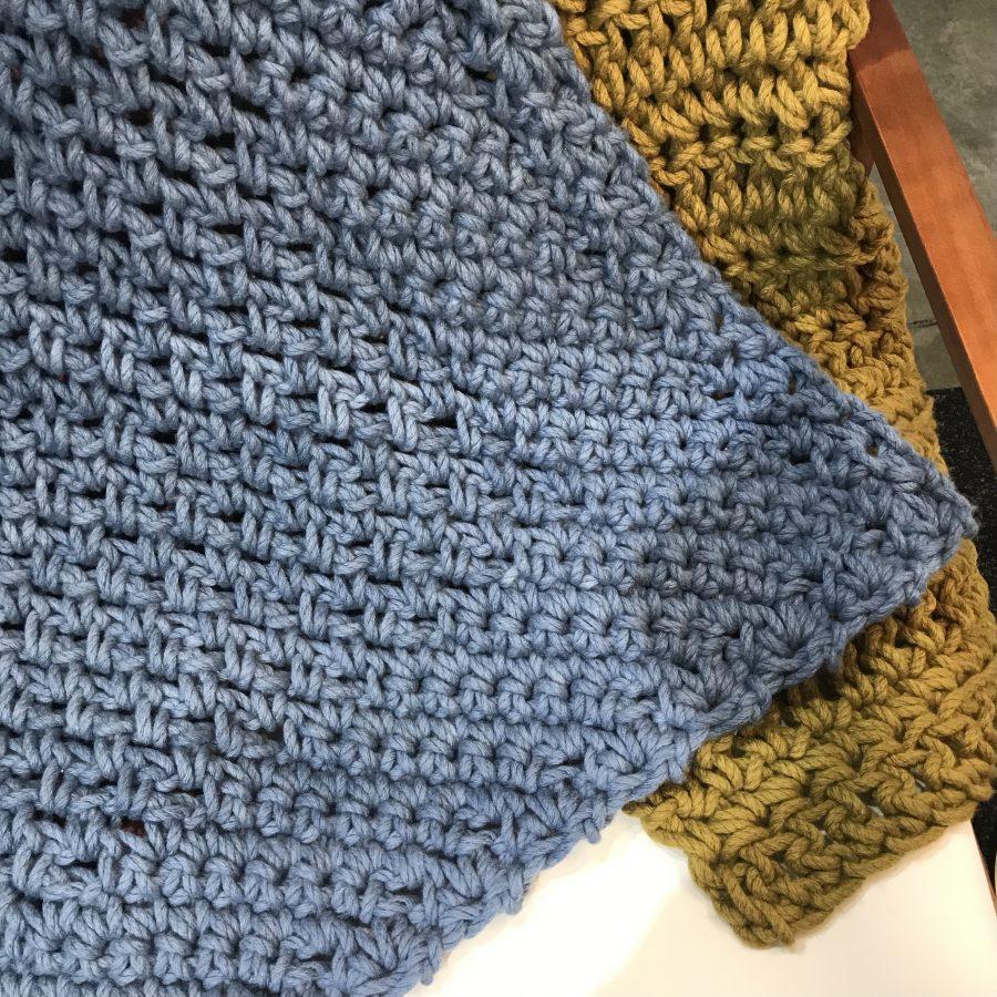 Diamond Blanket Steele Blue   Homelea Lass Contemporary Crochet